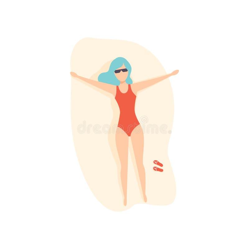 Jovem mulher com o banho de sol azul tingido na praia, ilustração do cabelo do vetor da vista superior em um fundo branco ilustração do vetor