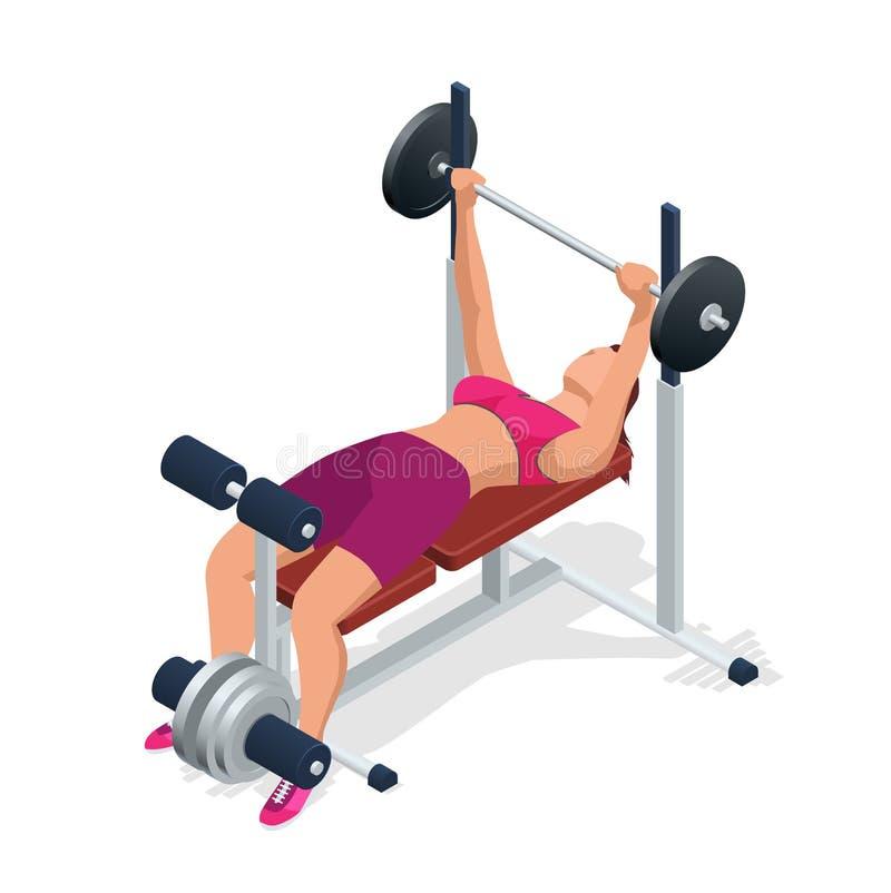 Jovem mulher com o barbell que dobra os músculos no gym Banco de peso ajustável do Gym com o barbell isolado no fundo branco ilustração stock