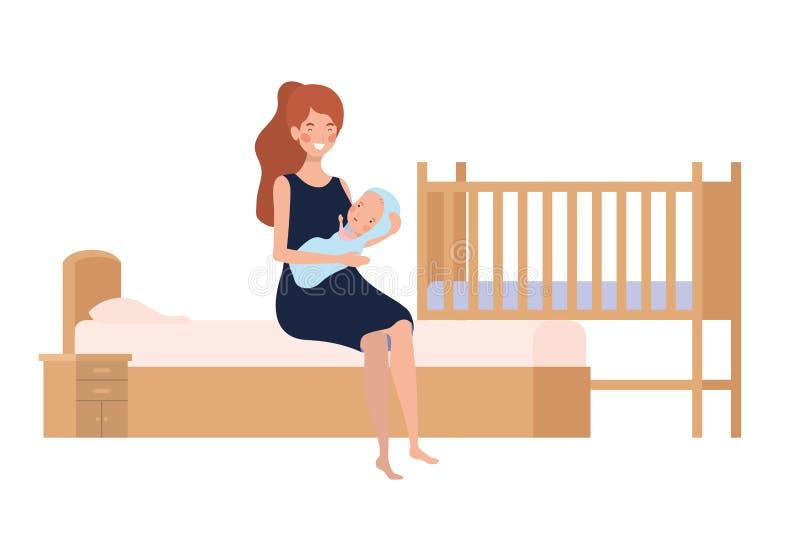 Jovem mulher com o bebê recém-nascido na cama ilustração royalty free