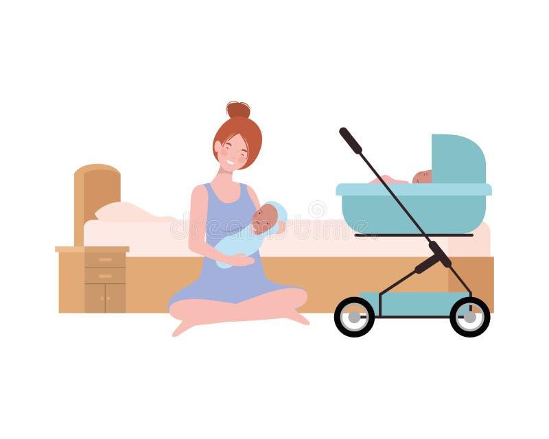Jovem mulher com o bebê recém-nascido na cama ilustração stock