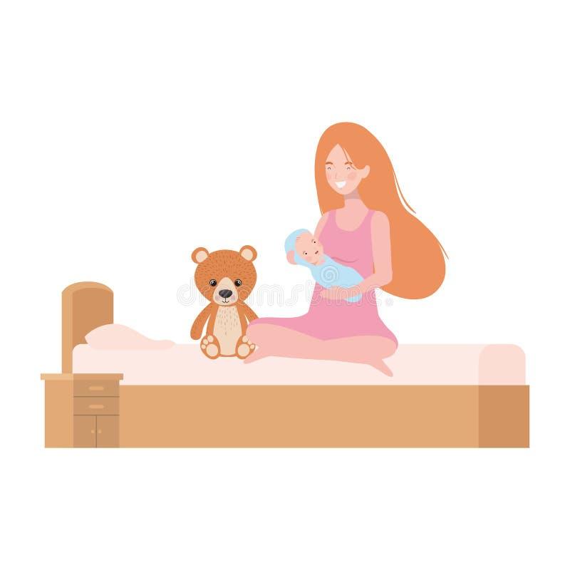 Jovem mulher com o bebê recém-nascido na cama ilustração do vetor