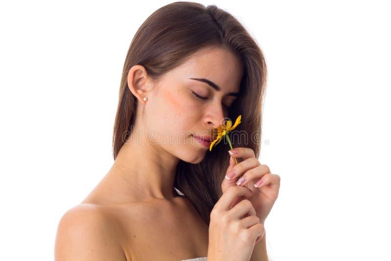 Jovem mulher com o cabelo longo que cheira a flor amarela foto de stock royalty free
