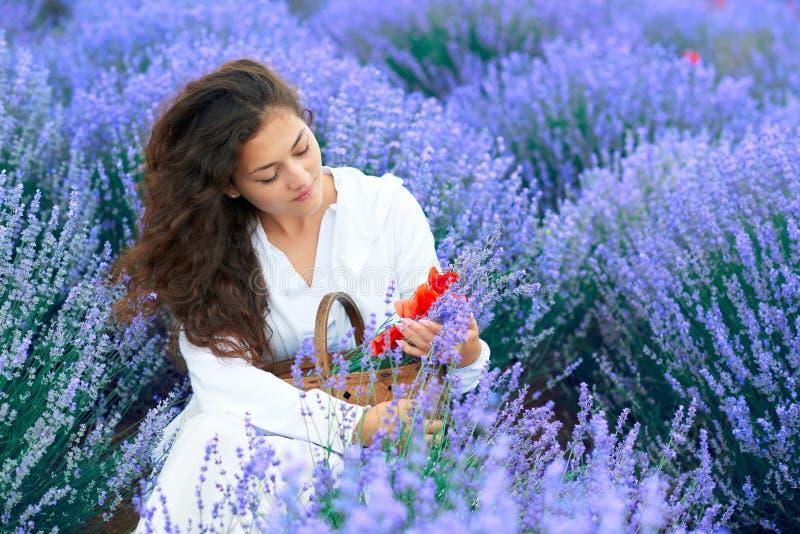 A jovem mulher com papoila est? no campo de flor da alfazema, paisagem bonita do ver?o imagens de stock royalty free