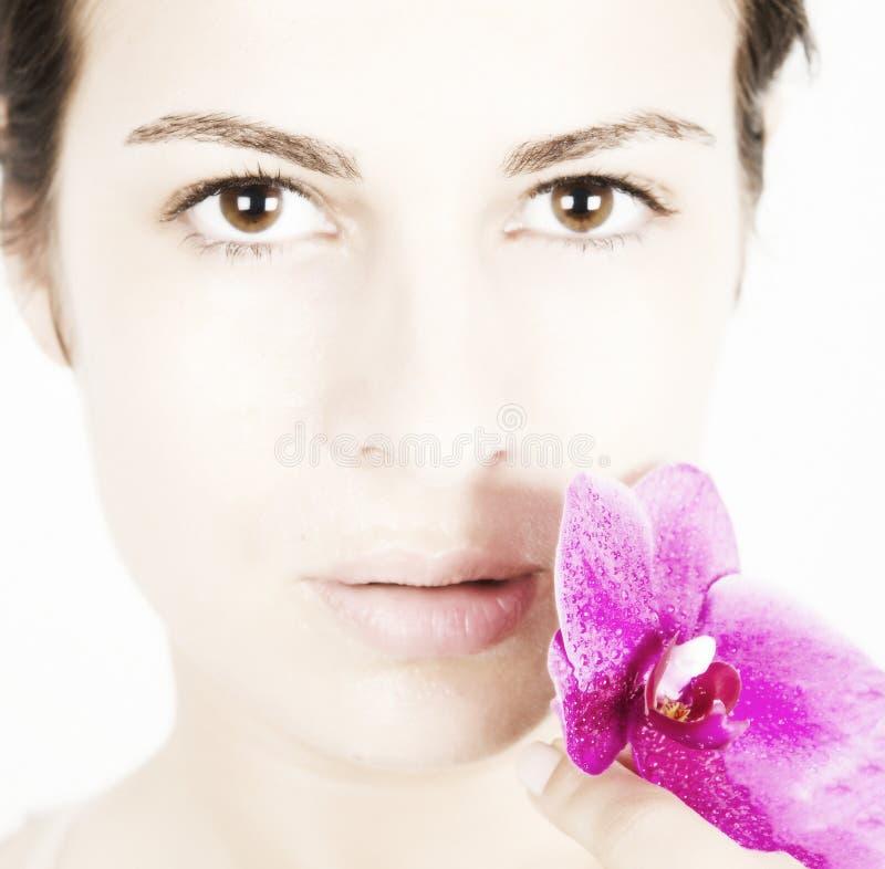 Jovem mulher com pele limpa, fresca fotografia de stock royalty free