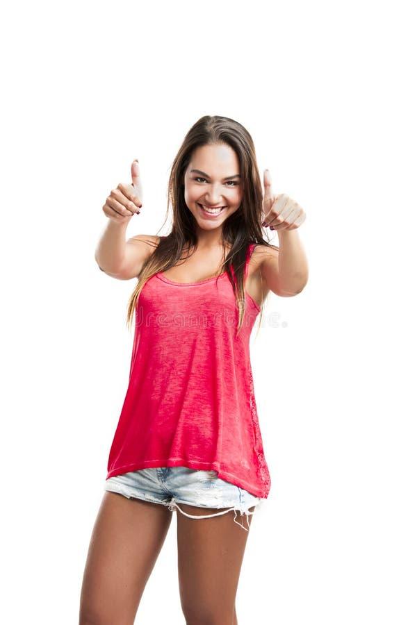 Download Jovem Mulher Com Polegares Acima Foto de Stock - Imagem de fresco, fundo: 29846452