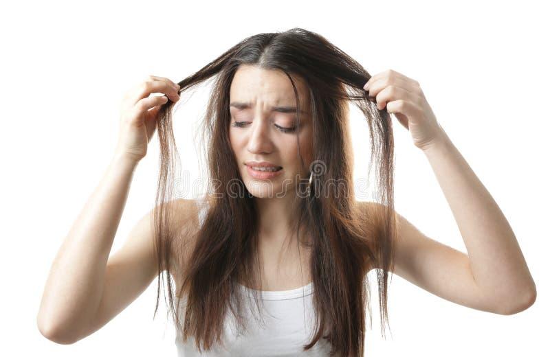 Jovem mulher com problema da queda de cabelo fotos de stock