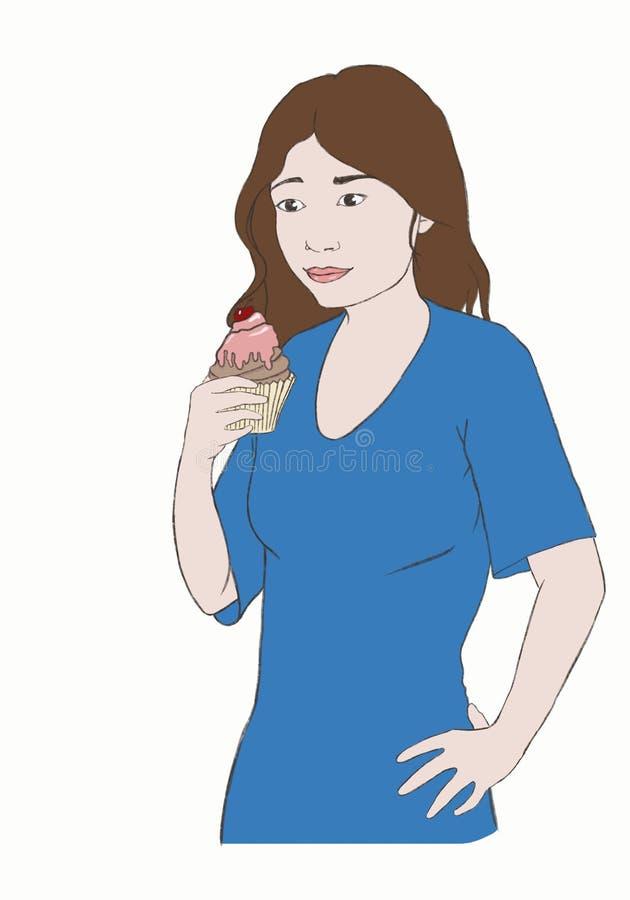 Jovem mulher com um queque em sua mão, olhando com uma cara do desejo imagens de stock