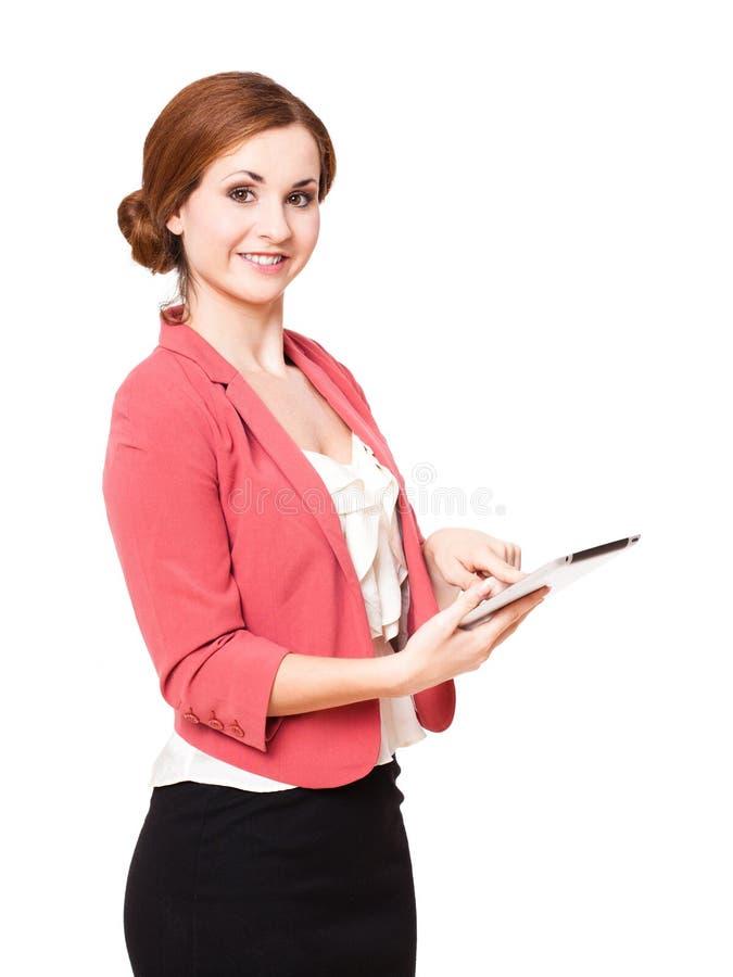 Jovem mulher com um tablet pc foto de stock