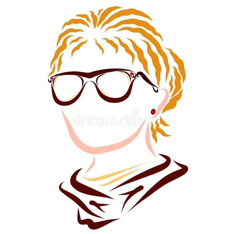 Jovem mulher com vidros, cabelo louro ondulado do negócio ilustração stock