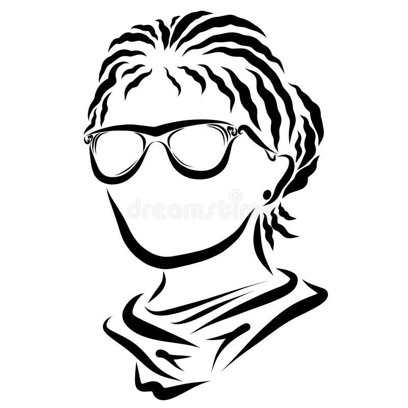 Jovem mulher com vidros, penteado ocasional do negócio ilustração royalty free