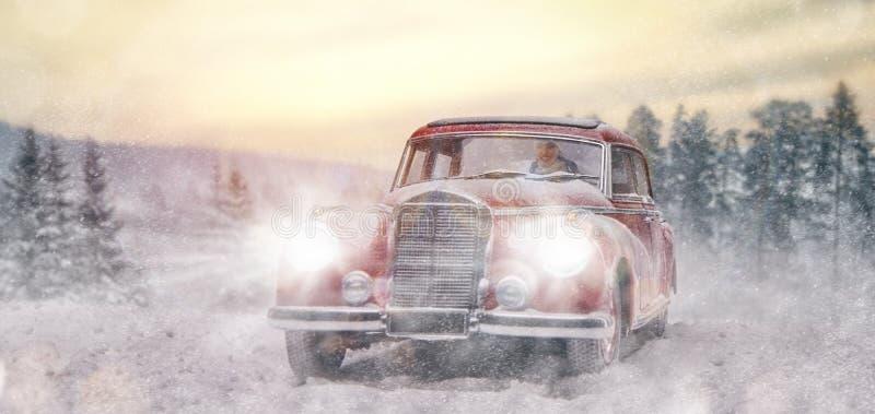A jovem mulher conduz o carro do vintage fotografia de stock