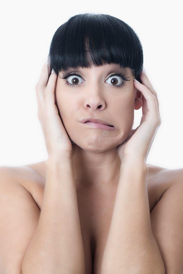 Jovem mulher confusa ansiosa assustado amedrontada fotografia de stock