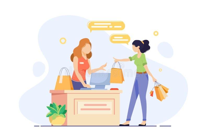 A jovem mulher contratou na compra e checkout suas compras ilustração do vetor