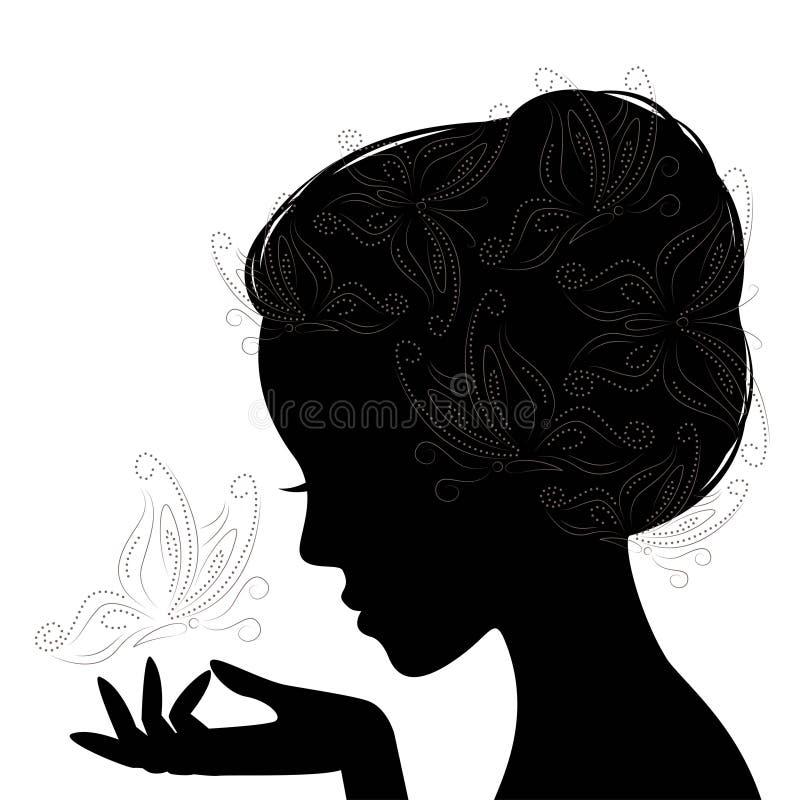 Jovem mulher da cara do perfil. Silhueta. ilustração royalty free