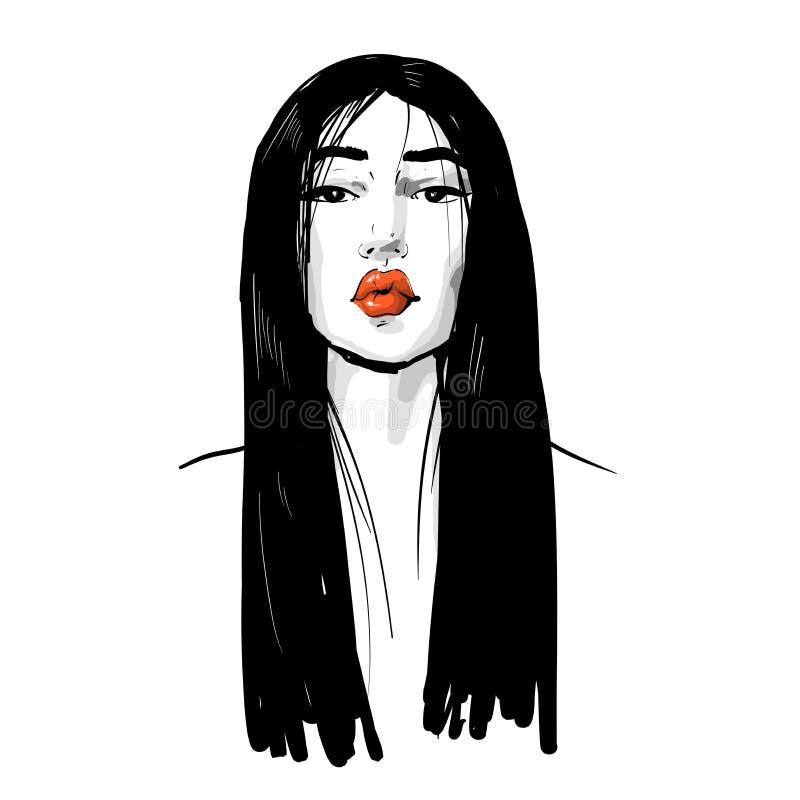 Jovem mulher de beleza asiática com lábios vermelhos cabelos longos e pretos Ilustração do vetor de moda isolada em branco Pode s ilustração stock