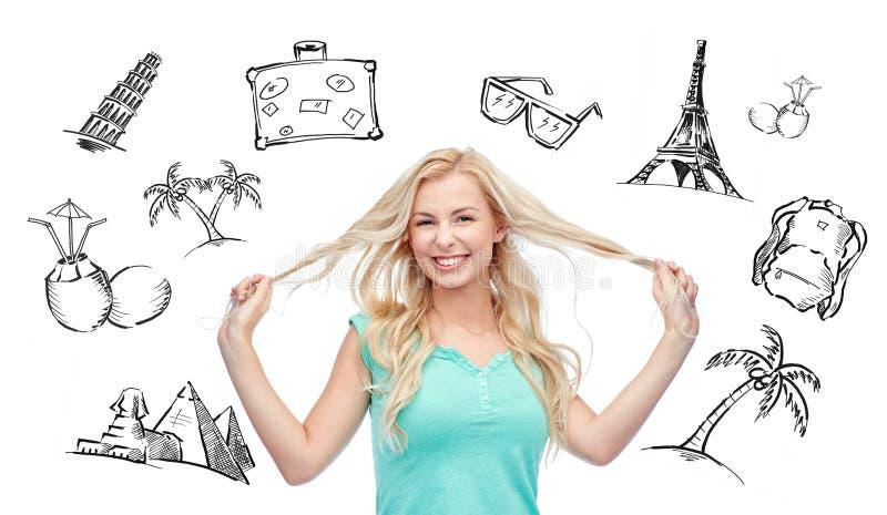 Jovem mulher de sorriso que guarda costas de seu cabelo ilustração do vetor