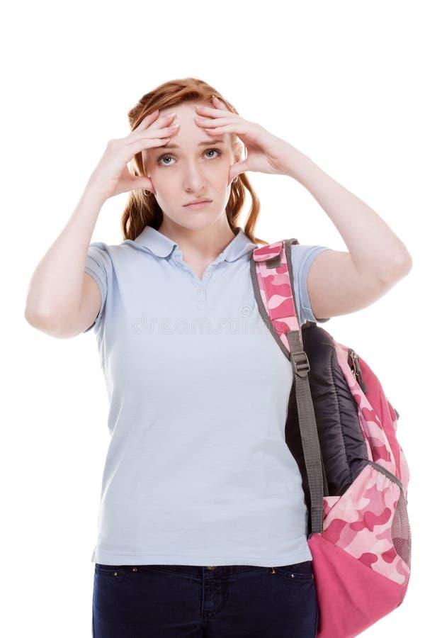 Jovem mulher deprimida de Caucasian da estudante universitário imagem de stock