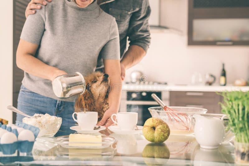 A jovem mulher derrama o café em um copo fotografia de stock royalty free