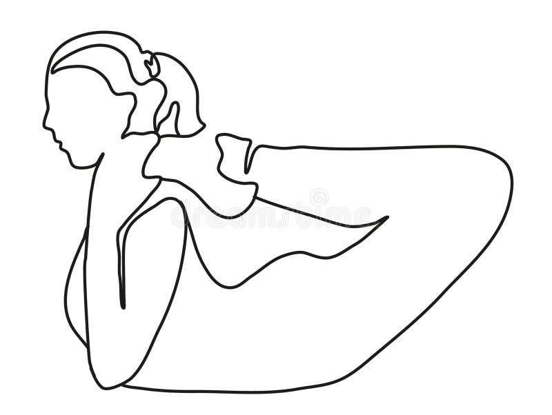 Jovem mulher desportiva que faz a prática da ioga isolada no fundo branco - conceito da vida saudável A l?pis desenho cont?nuo ilustração do vetor