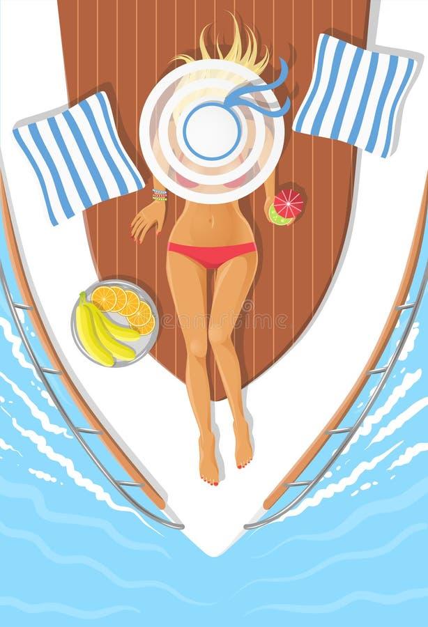 Jovem mulher do banho de sol em um barco imagens de stock