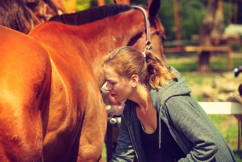 Jovem mulher do jóquei que obtém o cavalo pronto para o passeio fotos de stock royalty free