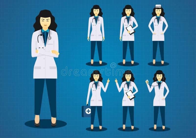 A jovem mulher do profissional medica todo o grupo do projeto de caráter da ação ilustração do vetor