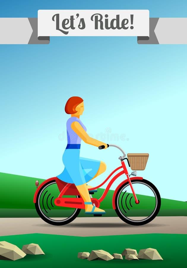 Jovem mulher do ruivo que monta uma bicicleta do quadro aberto no campo ilustração do vetor