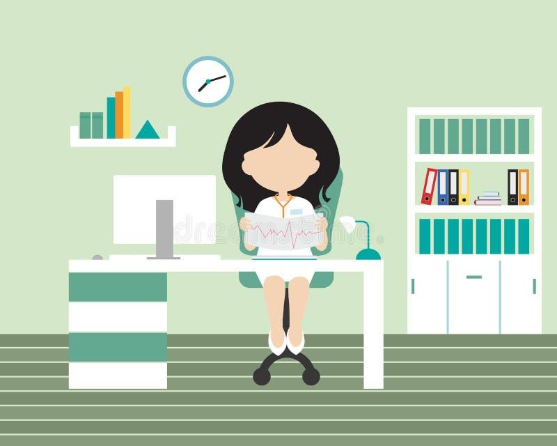 Jovem mulher - doutor que senta-se em um escritório ou em uma cirurgia em uma cadeira ilustração do vetor