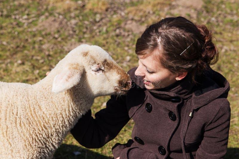 Jovem mulher e cordeiro pequeno que olham se foto de stock