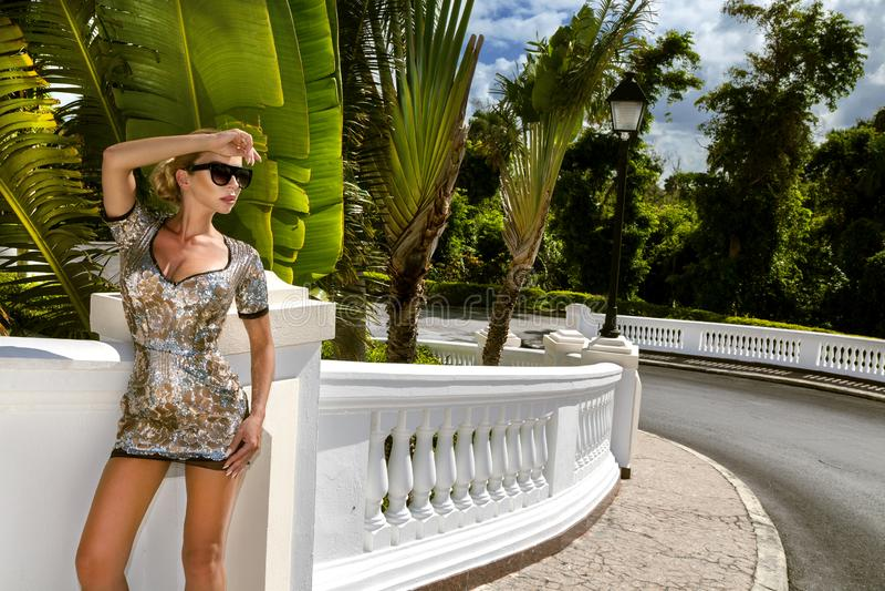 A jovem mulher elegante bonita que levanta no parque, óculos de sol, seqines veste-se, os saltos altos, cabelo louro Foto do ver? fotos de stock royalty free