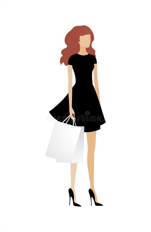 Jovem mulher elegante com sacos de compras Vetor EPS 10, cmyk ilustração stock
