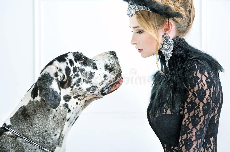 Jovem mulher elegante que olha fixamente no cão imagens de stock royalty free