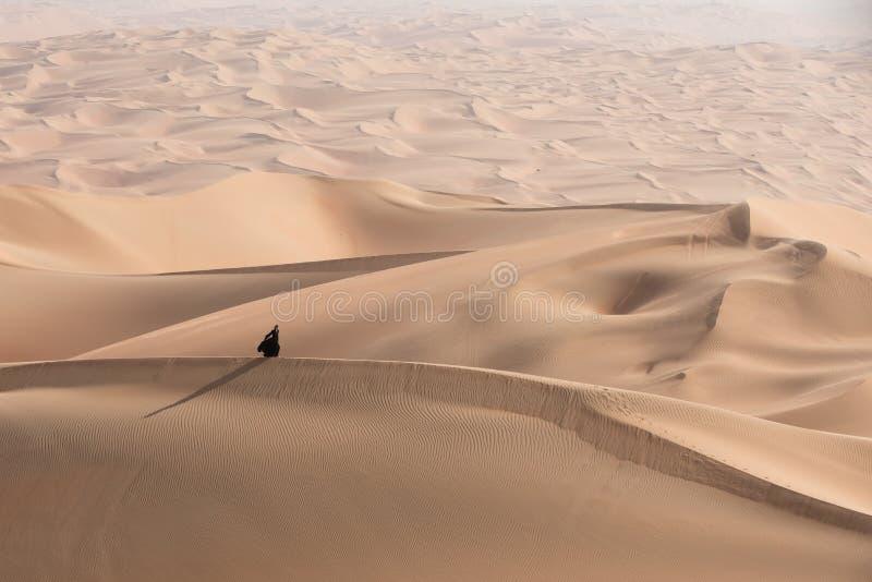 Jovem mulher em Abaya que levanta na paisagem do deserto foto de stock