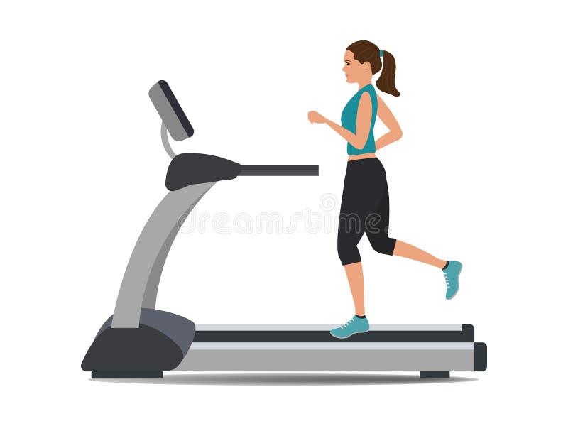 A jovem mulher em um uniforme desportivo está correndo em uma escada rolante ilustração do vetor
