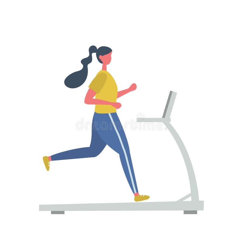 A jovem mulher em um uniforme desportivo est? correndo em uma escada rolante ilustração royalty free