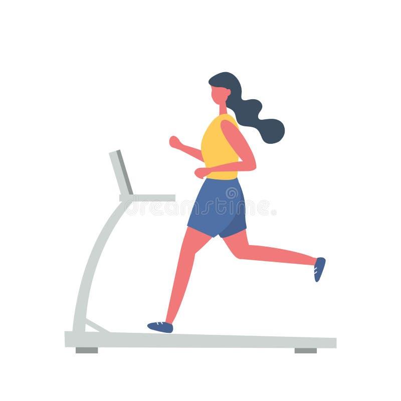 A jovem mulher em um uniforme desportivo est? correndo em uma escada rolante Estilo liso engra?ado ilustração royalty free