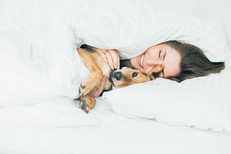 A jovem mulher entusiasmado bonita e seu cão bonito da vira-lata são enganam ao redor, olhando a câmera ao encontrar-se coberto c imagens de stock
