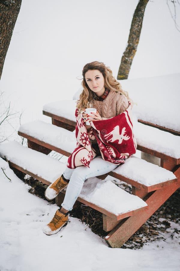 Jovem mulher envolvida na cobertura que bebe o chá quente na floresta nevado imagens de stock royalty free