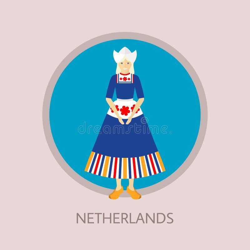 A jovem mulher ereta no traje tradicional de Duth, vestido, avental, capota e klompen foto de stock royalty free