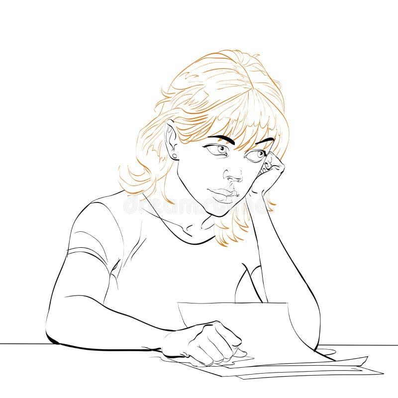 A jovem mulher escreve uma letra ilustração do vetor