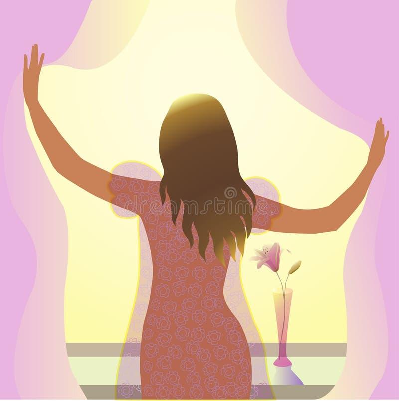 A jovem mulher está perto da janela na manhã ilustração do vetor