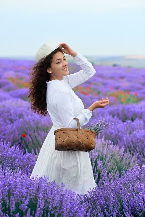 A jovem mulher est? no campo de flor da alfazema, paisagem bonita do ver?o imagens de stock