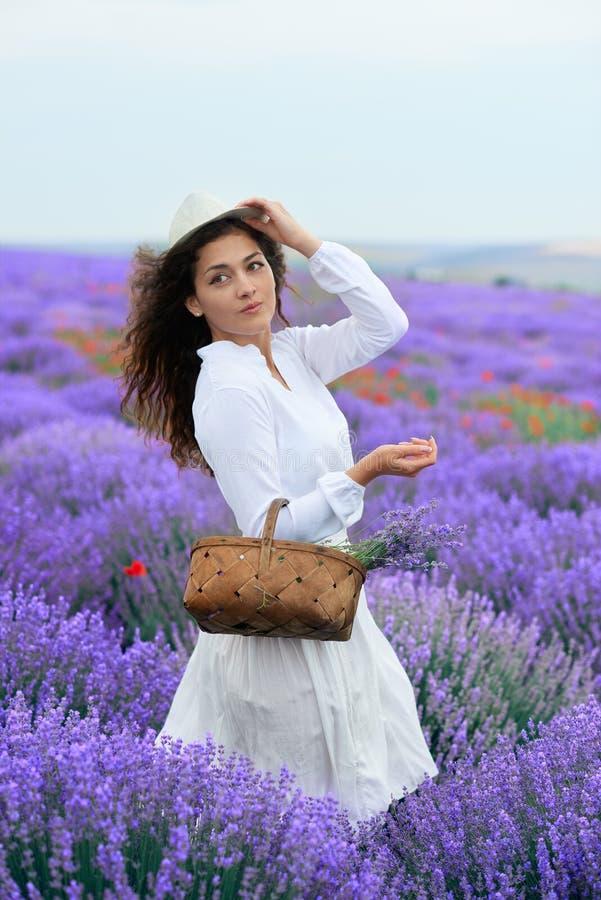 A jovem mulher est? no campo de flor da alfazema, paisagem bonita do ver?o fotografia de stock royalty free