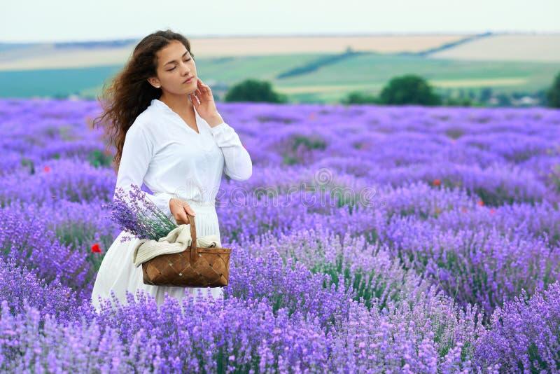 A jovem mulher est? no campo de flor da alfazema, paisagem bonita do ver?o foto de stock royalty free