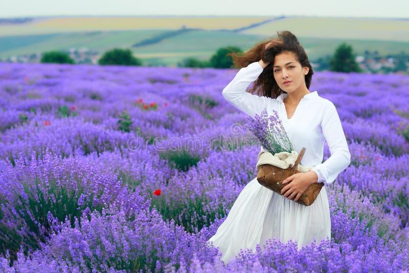 A jovem mulher est? no campo de flor da alfazema, paisagem bonita do ver?o fotos de stock