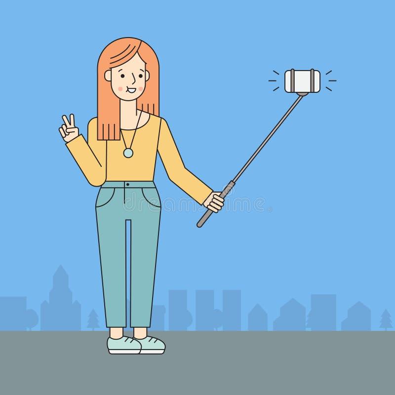 A jovem mulher faz o selfie na rua Projeto do esboço ilustração royalty free