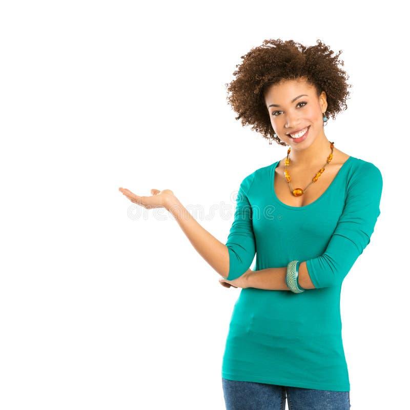Retrato da mulher feliz que tem fotos de stock