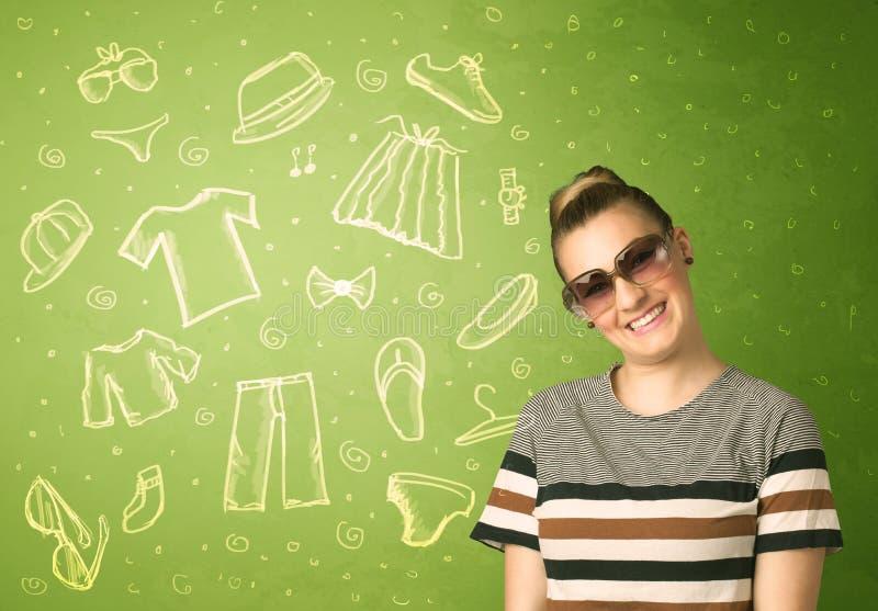 Jovem mulher feliz com ícones dos vidros e da roupa ocasional ilustração royalty free