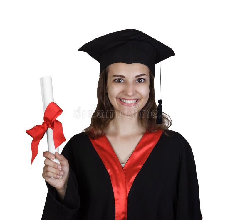 Jovem mulher feliz da vista superior que gradua-se guardando o diploma imagens de stock