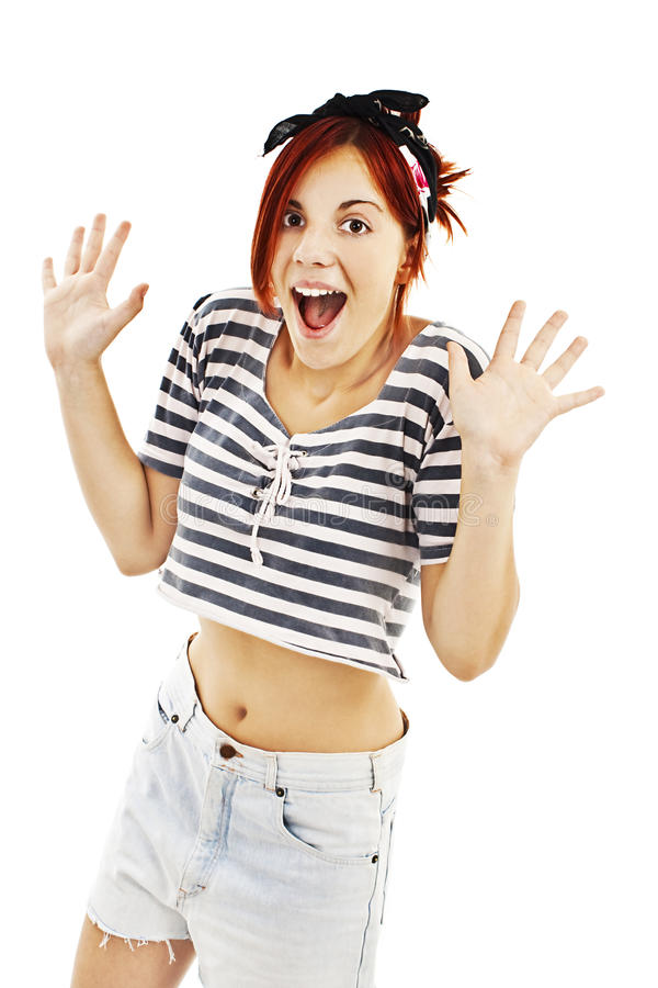 Jovem mulher feliz surpreendida foto de stock royalty free